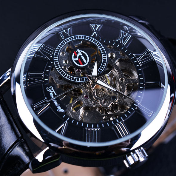 Luxurious Mechanical Watch With Leather Strap
