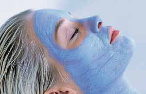 Girl wearing ndc beauty Blue Spirulina superfood Face Mask