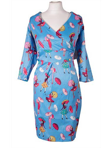 Kailin Retro Girl print Wiggle Dress by Lady V London
