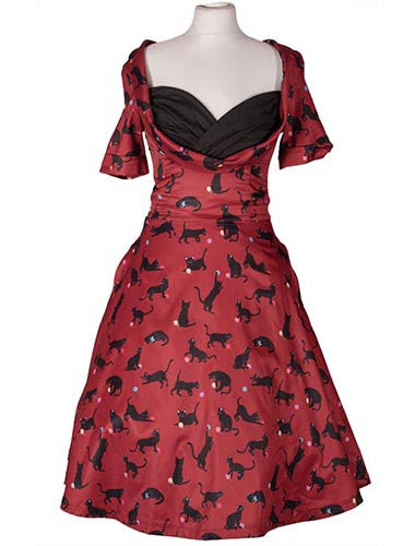 Sloane Dress Cats with Wool Print by Lindy Bop