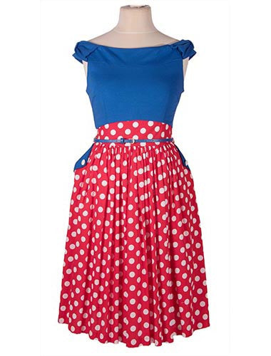 Carla Blue & Red Polka Dot Swing Dress by Lindy Bop