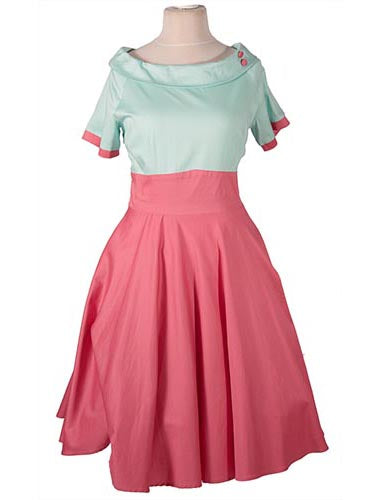 Darlene Retro Full Circle Swing Dress in Mint and Coral by Dolly and Dotty