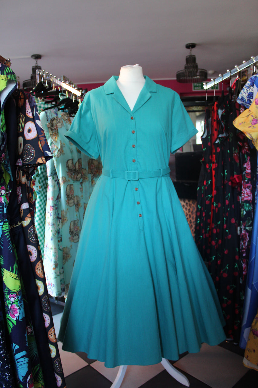 Teal Swing Shirt-dress