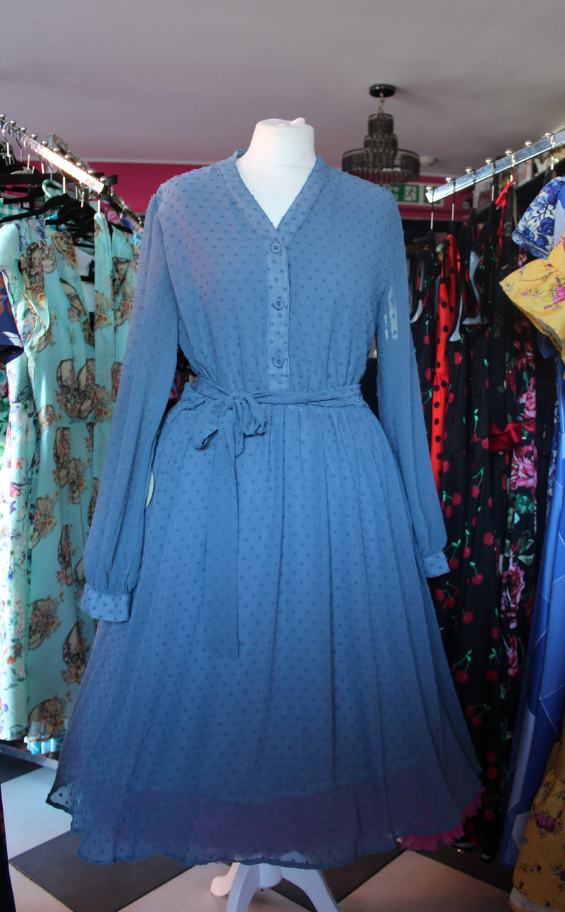 Blue Chiffon Spot Dress