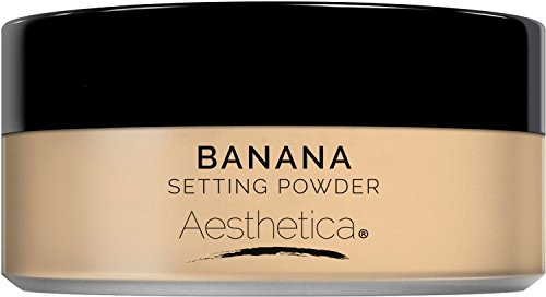 Aesthetica Banana Loose Setting Powder - Flash Friendly Superior Matte Finish Highlighter & Finishing Powder - Includes Velour Puff