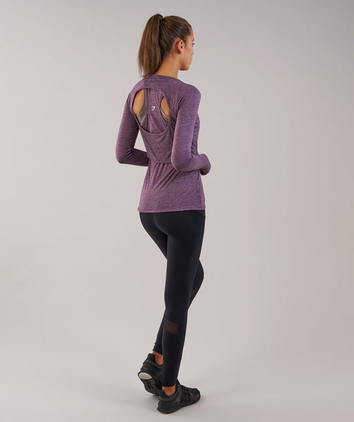 Gymshark Double Up Long Sleeve Top - Purple Wash Marl 3
