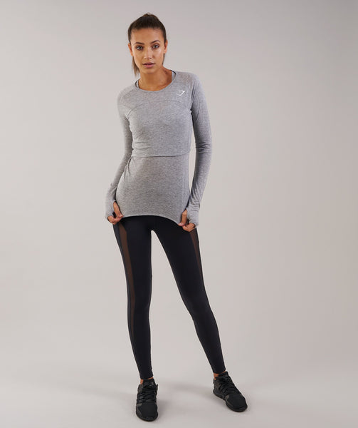 Gymshark Double Up Long Sleeve Top - Light Grey Marl 3