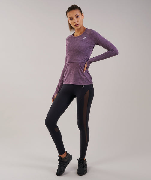 Gymshark Double Up Long Sleeve Top - Purple Wash Marl 4