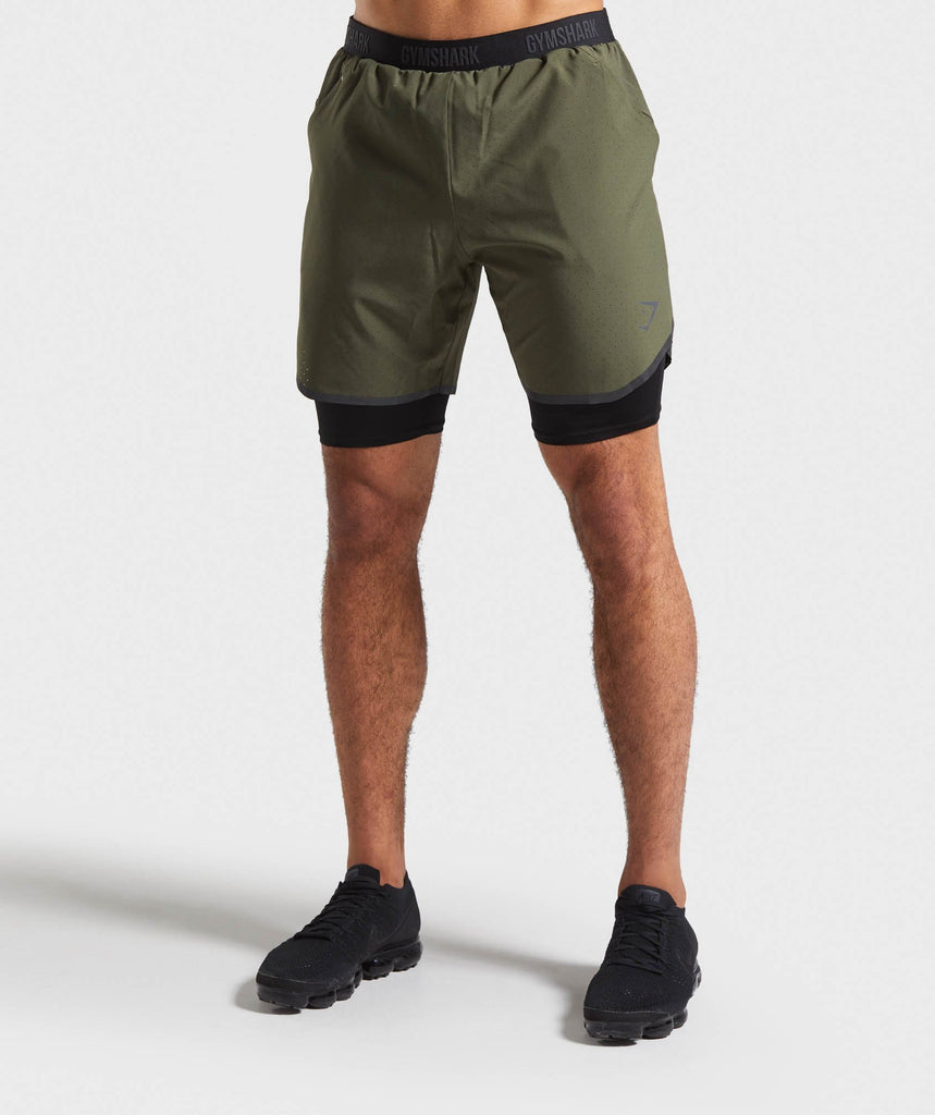 Gymshark 2 in 1 Tech Shorts - Green 1