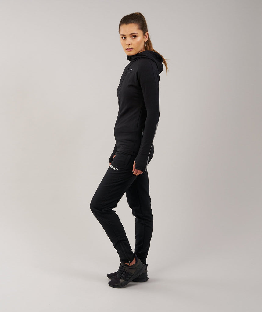 Gymshark Impulse Zip Hoodie - Black/Charcoal Marl 2