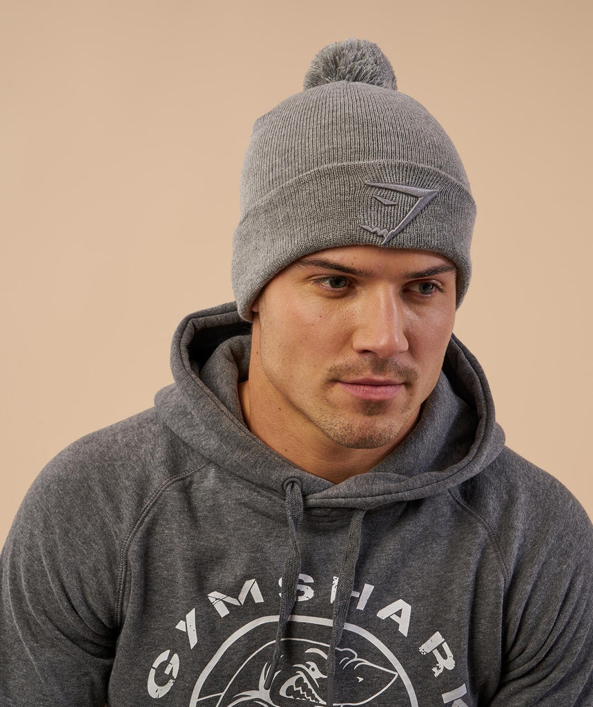 Gymshark Mens Bobble Hat - Light Grey
