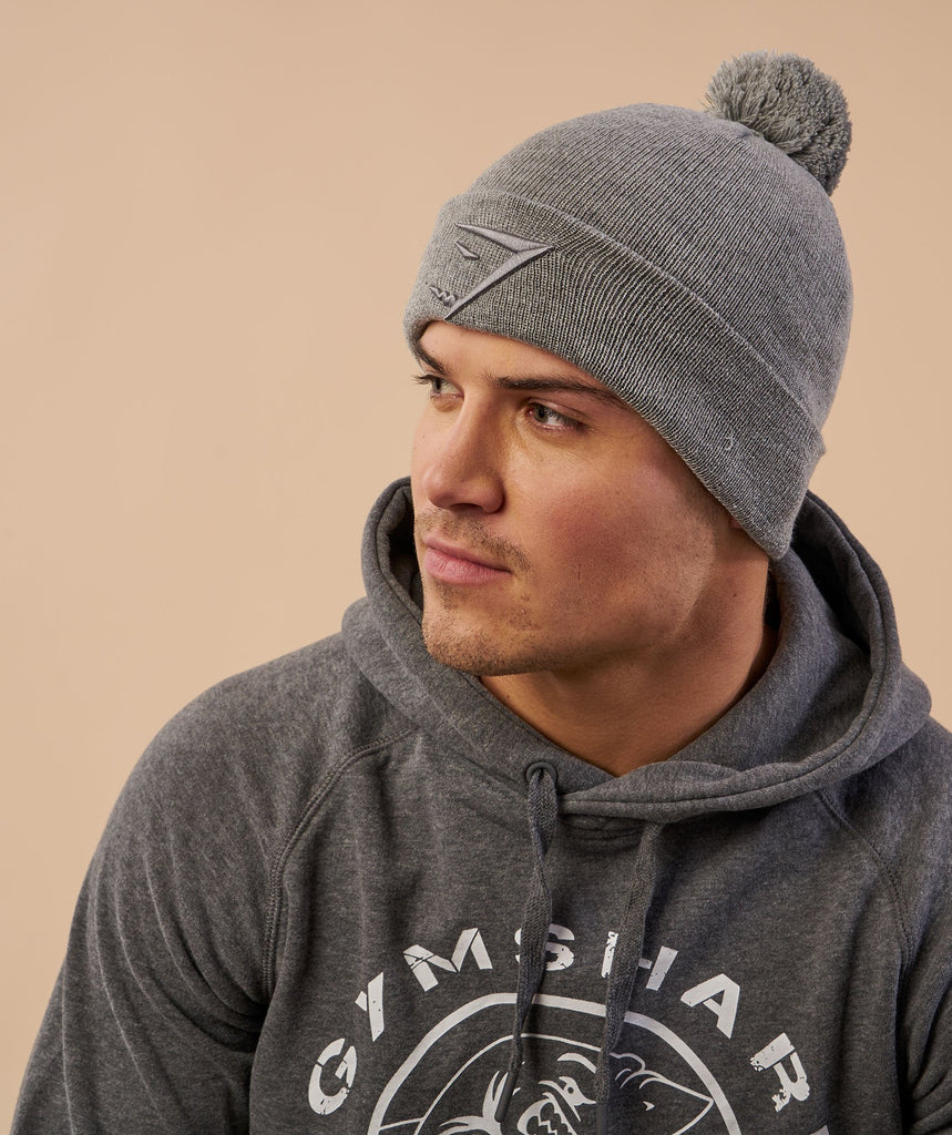Gymshark Mens Bobble Hat - Light Grey 5