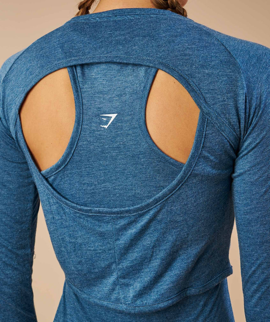 Gymshark Double Up Long Sleeve Top - Petrol Blue Marl 6