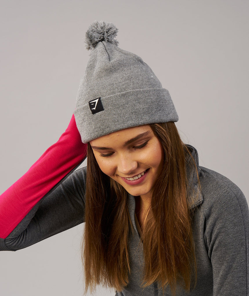 Gymshark Womens Bobble Hat - Light Grey