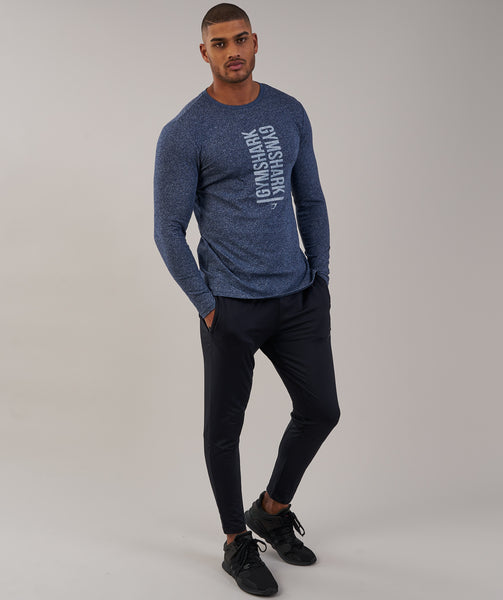 Gymshark Statement Long Sleeve T-Shirt - Sapphire Blue Marl 3