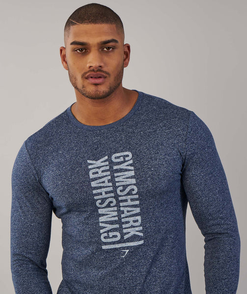 Gymshark Statement Long Sleeve T-Shirt - Sapphire Blue Marl 4