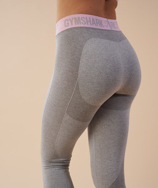 Gymshark Flex Leggings - Light Grey Marl/Chalk Pink 4