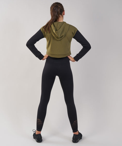 Gymshark Two Tone Cropped Hoodie - Khaki/Black 2