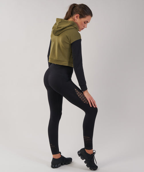 Gymshark Two Tone Cropped Hoodie - Khaki/Black 3