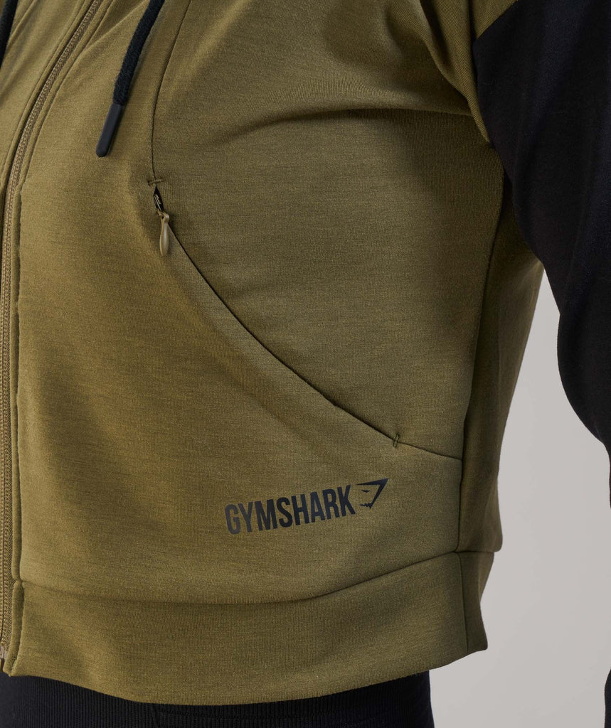 Gymshark Two Tone Cropped Hoodie - Khaki/Black 6