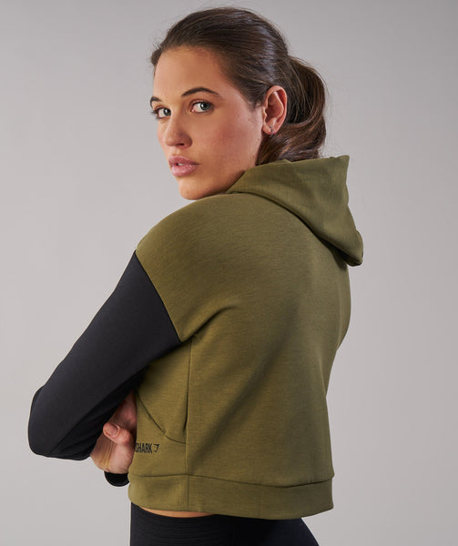 Gymshark Two Tone Cropped Hoodie - Khaki/Black 1