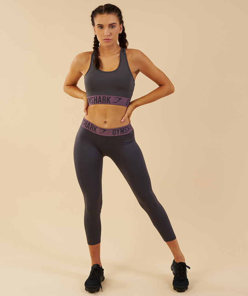 Gymshark Fit Cropped Leggings - Charcoal/Purple Wash 1
