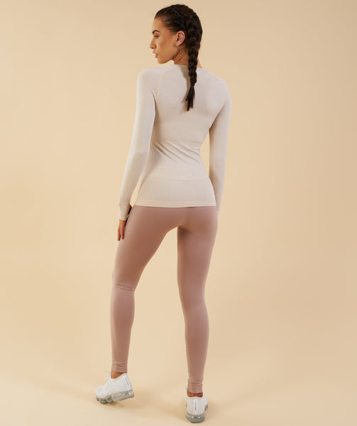 Gymshark Vital Seamless Long Sleeve Top - Sand 2