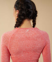 Gymshark Vital Seamless Long Sleeve Crop Top - Peach Coral 12