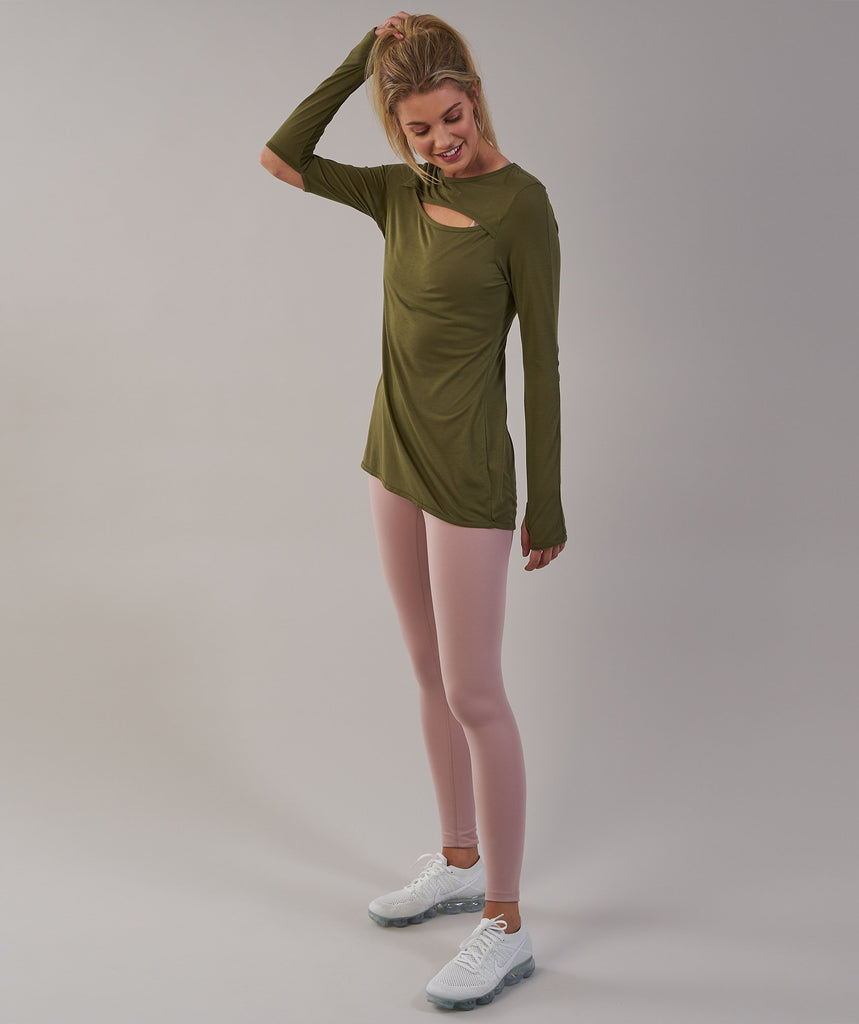 Gymshark Cut Out Long Sleeve - Khaki 5