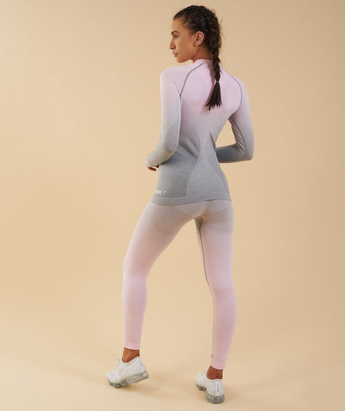 Gymshark Ombre Seamless Long Sleeve Top  - Light Grey/Chalk Pink 2