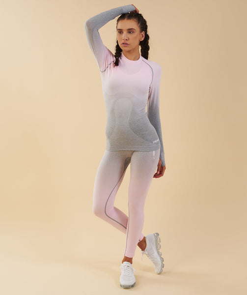 Gymshark Ombre Seamless Long Sleeve Top  - Light Grey/Chalk Pink 3