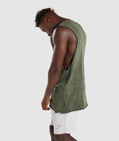 Gymshark Acid Wash Drop Arm Sleeveless T-Shirt - Alpine Green 9