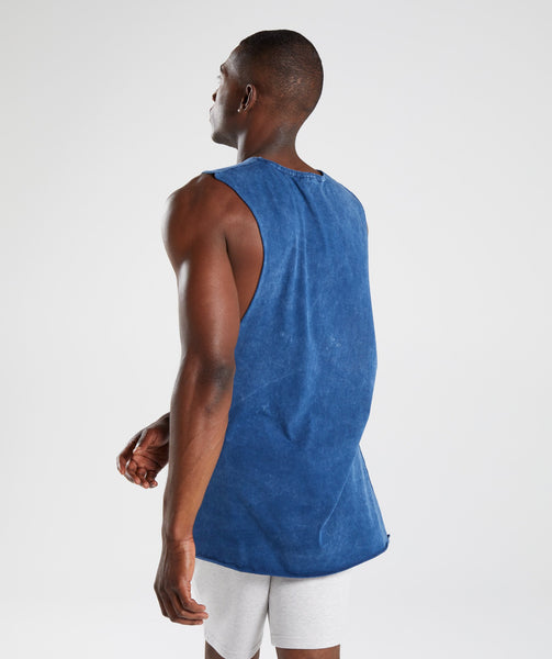 Gymshark Acid Wash Drop Arm Sleeveless T-Shirt - Sapphire Blue 4