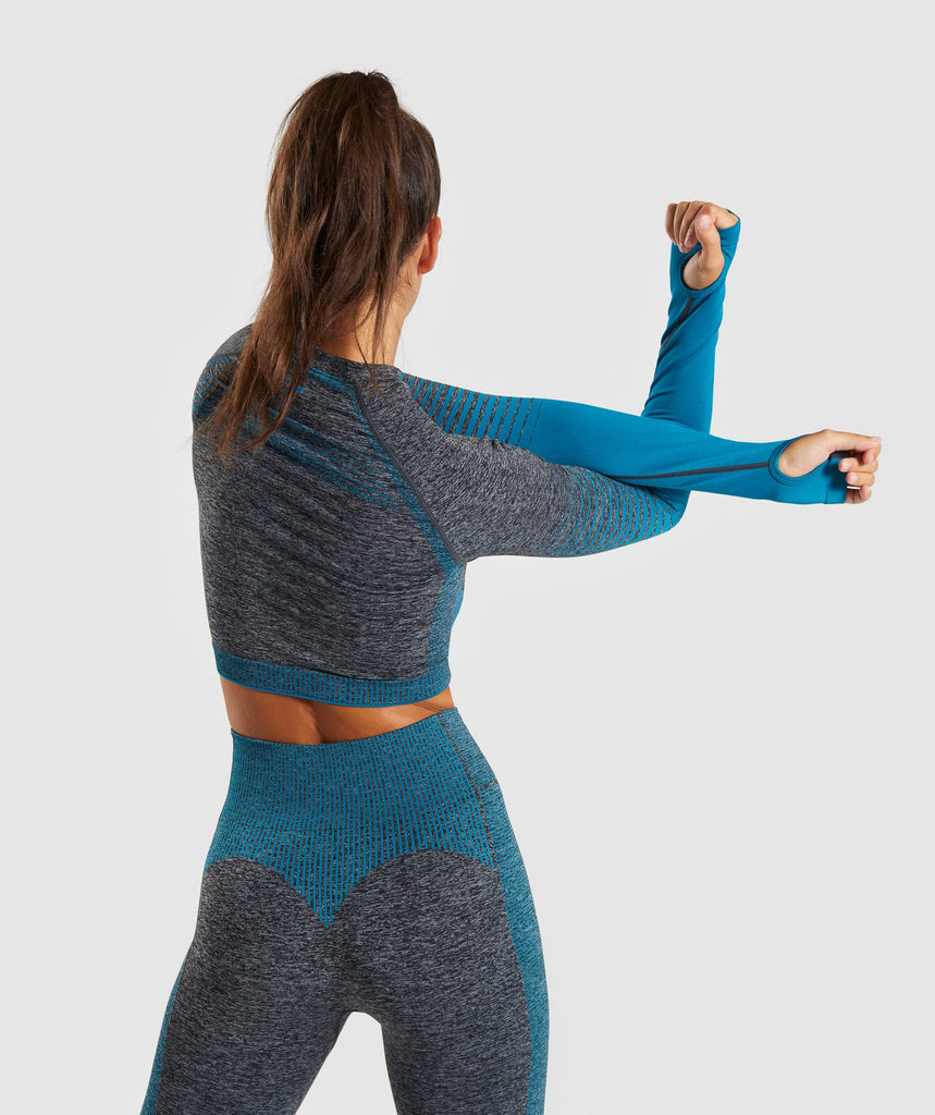 Gymshark Amplify Seamless Long Sleeve Crop Top  - Black Marl/Deep Teal 2