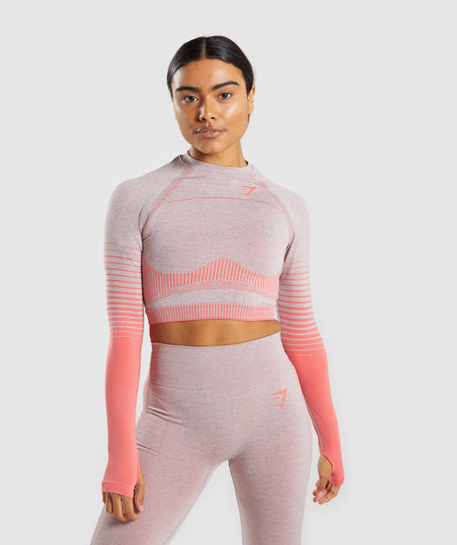 Gymshark Amplify Seamless Long Sleeve Crop Top  - Taupe Marl/Peach Coral 4