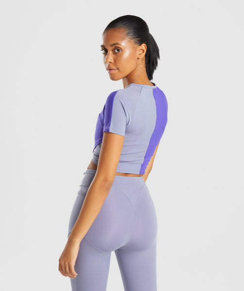 Gymshark Asymmetric Crop Top - Steel Blue/Indigo 1