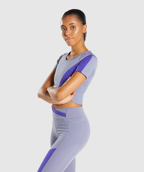 Gymshark Asymmetric Crop Top - Steel Blue/Indigo 2