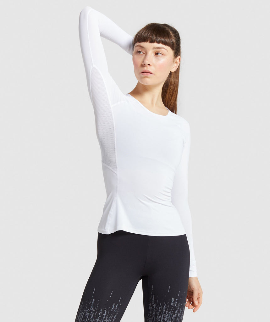 Gymshark Combat Long Sleeve Top - White 1