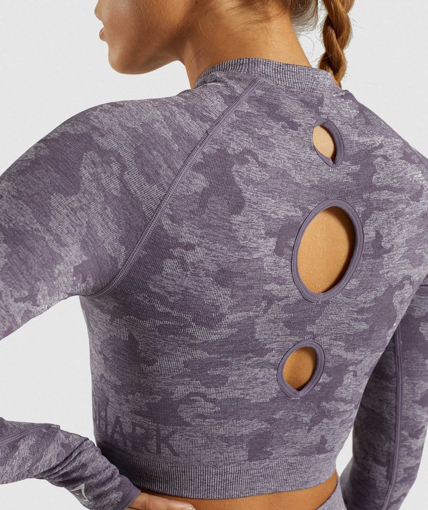 Gymshark Camo Seamless Long Sleeve Crop Top - Lavender Grey 6