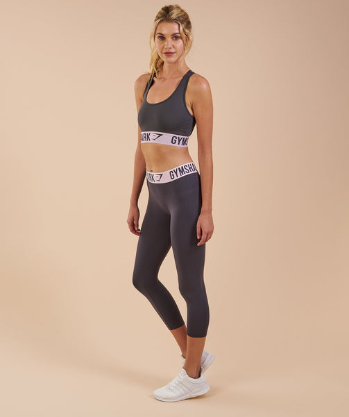 Gymshark Fit Cropped Leggings - Charcoal/Chalk Pink 2