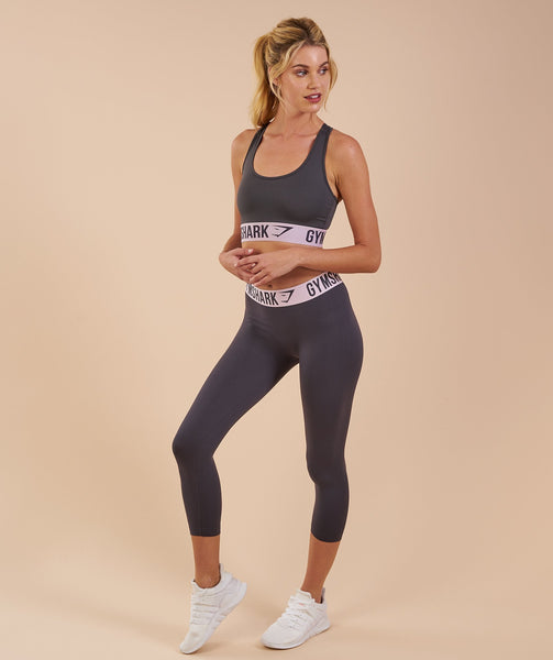 Gymshark Fit Cropped Leggings - Charcoal/Chalk Pink 3