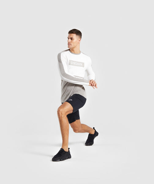 Gymshark Colour Block Central Logo Long Sleeve T-Shirt - Chalk White 3