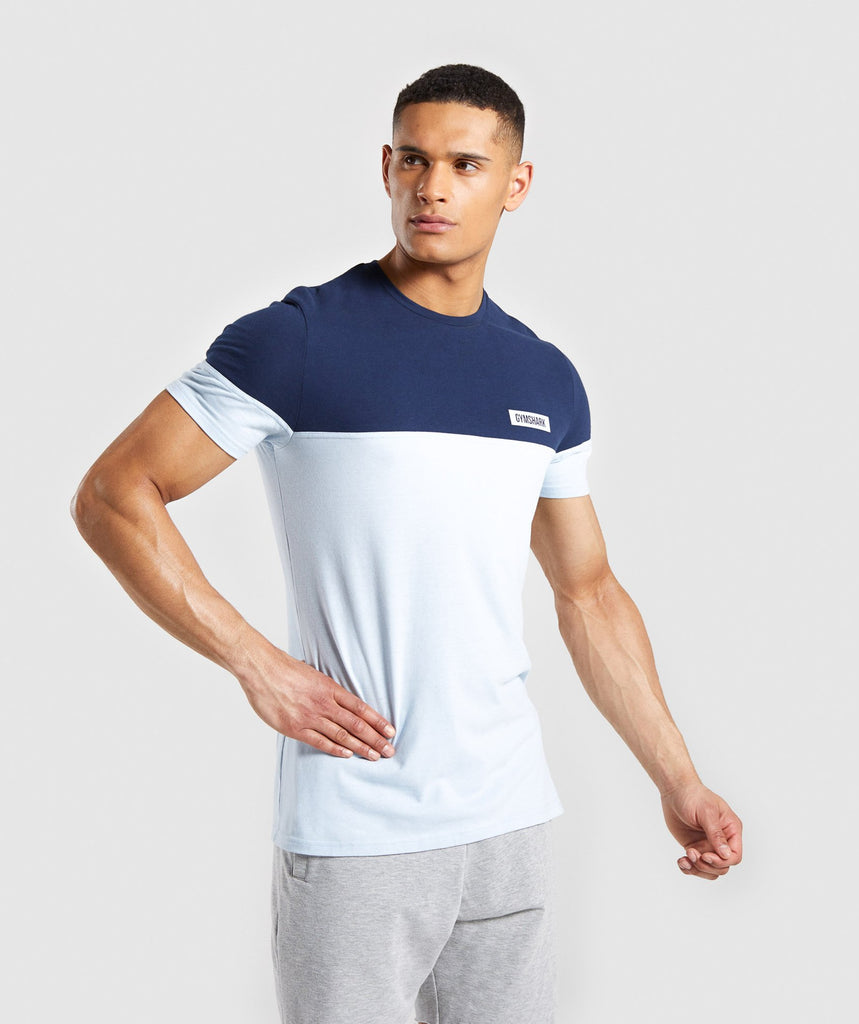 Gymshark Colour Block T-Shirt - Light Blue 4