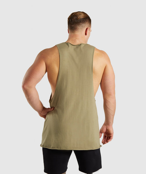 Gymshark Crucial Drop Arm Tank - Light Khaki 1