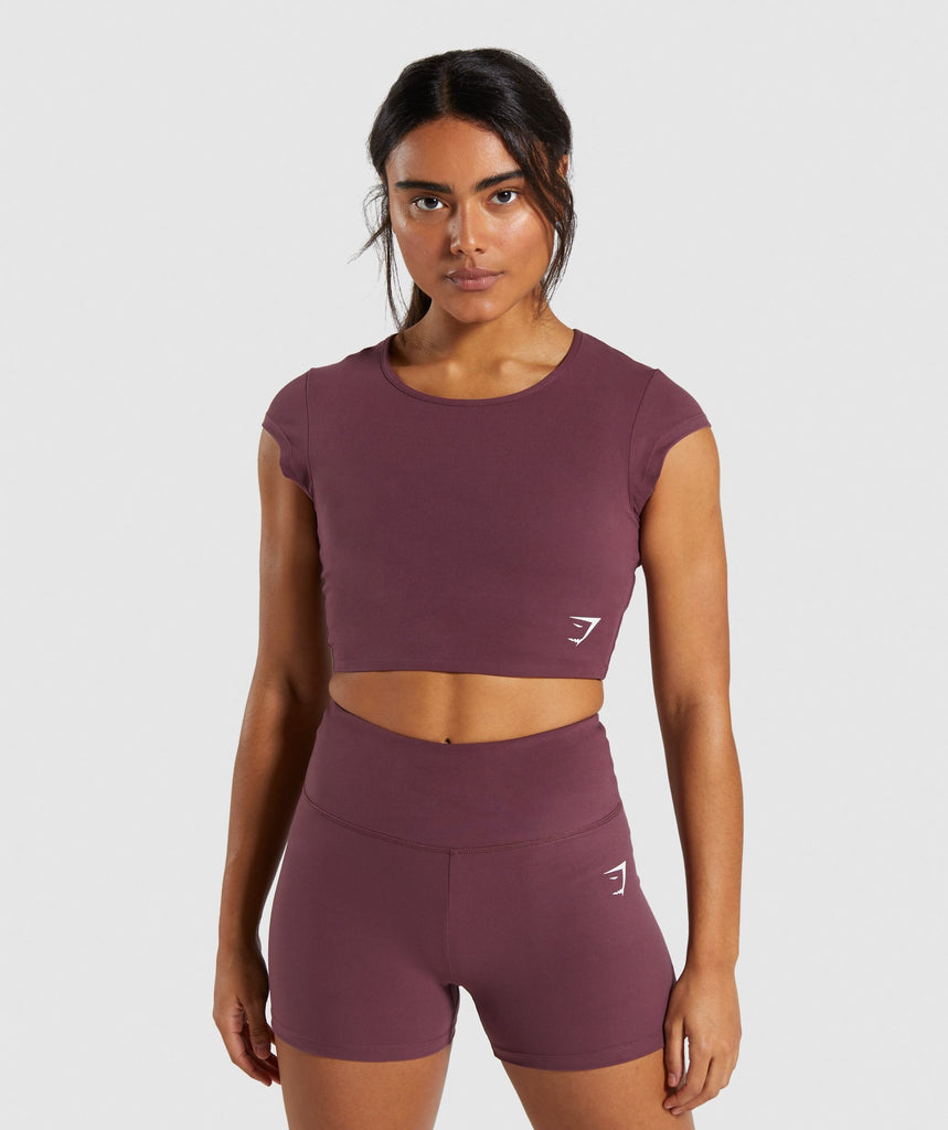 Gymshark Dreamy Cap Sleeve Crop Top - Berry Red 1