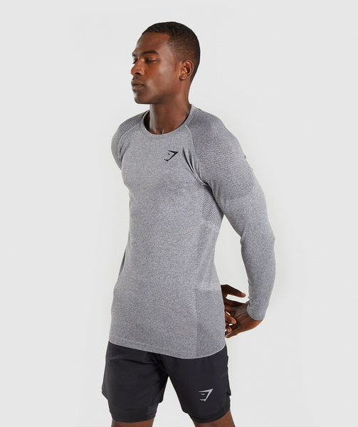 Gymshark Define Seamless Long Sleeve T-Shirt - Smokey Grey Marl 4