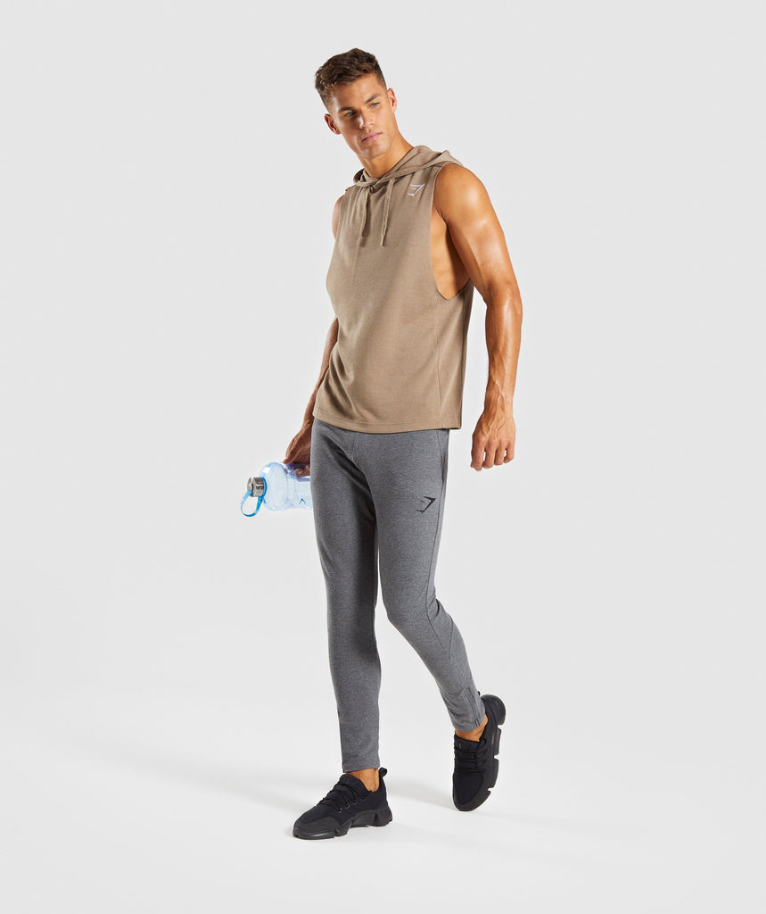 Gymshark Drop Arm Sleeveless Hoodie - Driftwood Brown 5