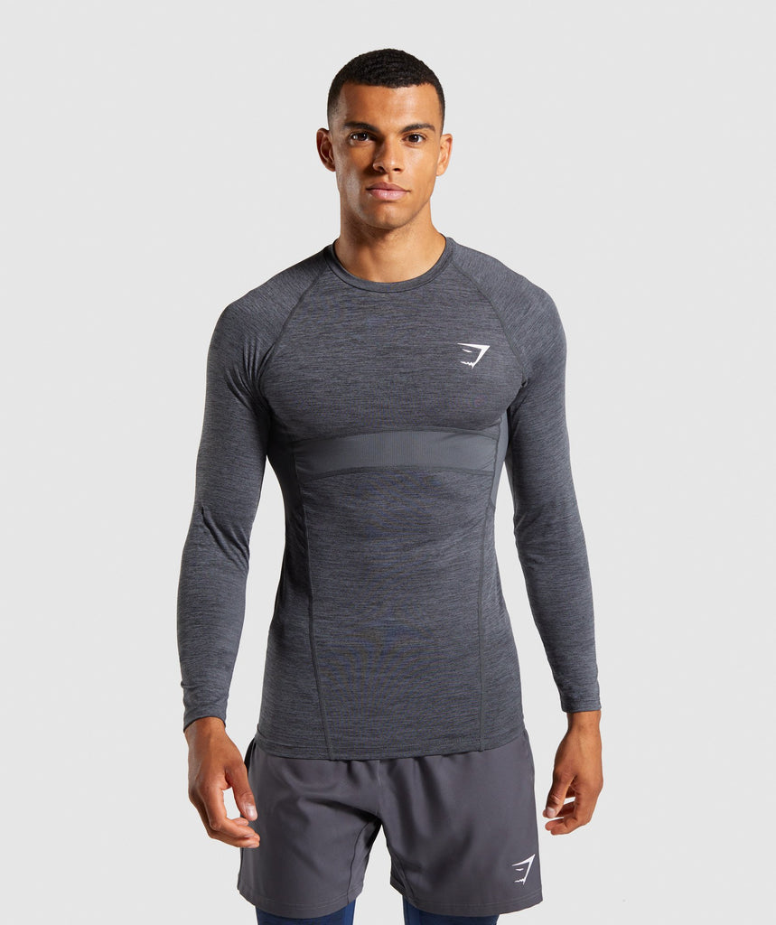 Gymshark Element+ Baselayer Long Sleeve Top - Black Marl/White 1