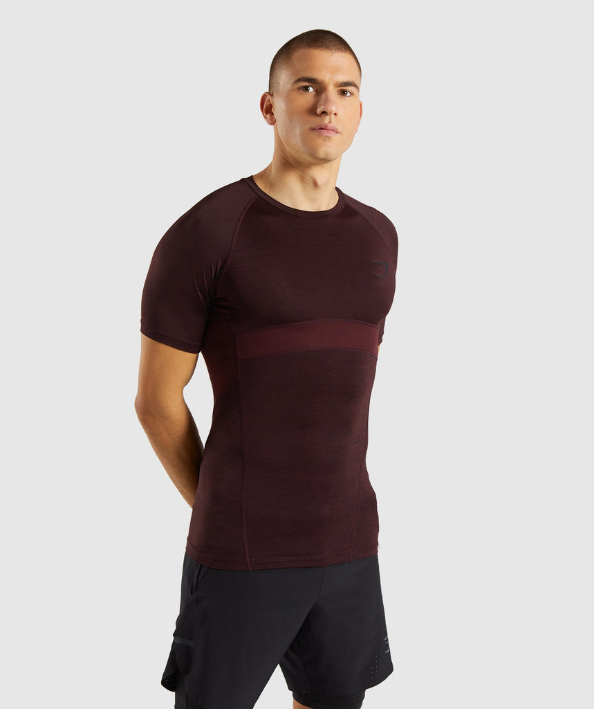 Gymshark Element+ Baselayer T-Shirt - Ox Red Marl 1