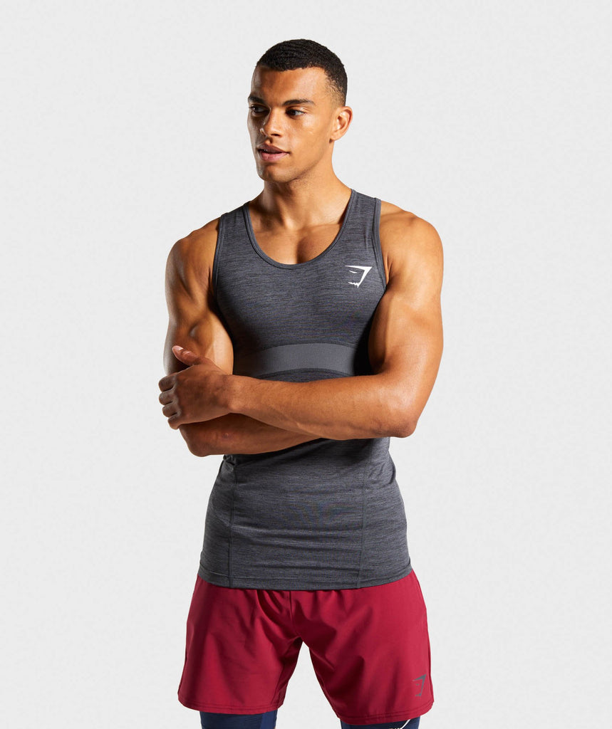 Gymshark Element+ Baselayer Tank - Black Marl/White 1